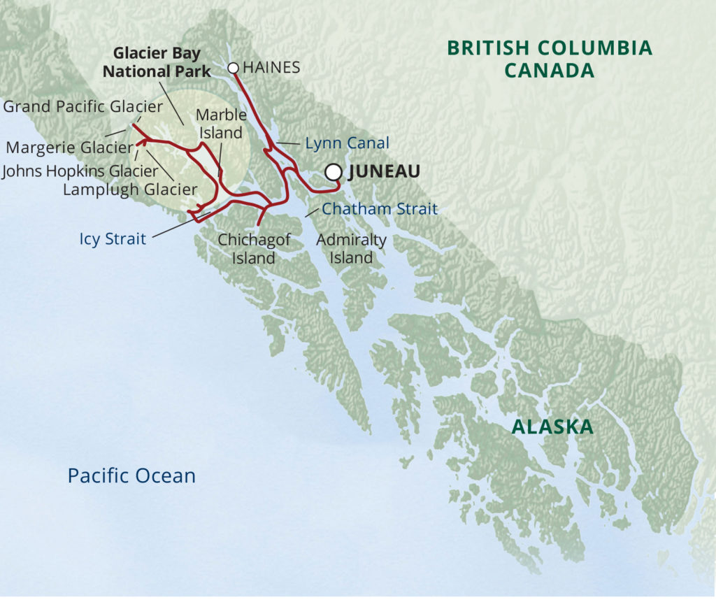 Glacier Bay National Park Adventure Cruise Itinerary Map